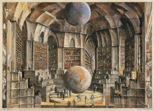 Erik Desmazieres. Borges The Library of Babel: The Salon of the Planets (1998)